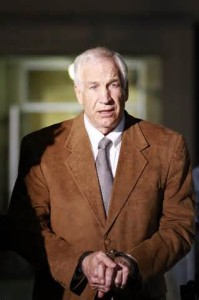 Jerry Sandusky, former Penn State Coach found guilty of 45 counts of Sexual Abuse, and sentenced to a minimum of 30 years in prison.
