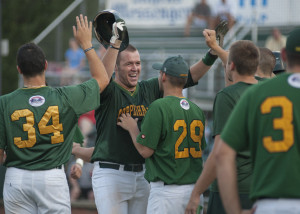 Blaise Salter celebrates with teammates after another home run .