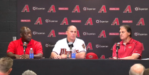 From left to right; General Manager Dave Stewart, Manager Chip Hale, and Chief Officer of Baseball Operations Tony LaRussa.