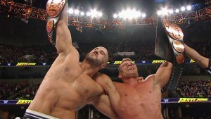 Tyson Kidd and Cesaro celebrate being crowned WWE Tag Team Champions