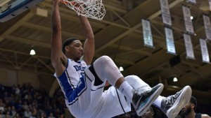The projected #2 pick, Jahlil Okafor, doing what he does best: throwing it down!
