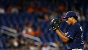 MIAMI, FL - APRIL 11:  Chris Archer #22 of the Tampa Bay Rays pitches during a game against the Miami Marlins at Marlins Park on April 11, 2015 in Miami, Florida.  (Photo by Mike Ehrmann/Getty Images)