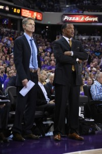 October 29, 2014; Sacramento, CA, USA; Golden State Warriors head coach Steve Kerr (left) and associate head coach Alvin Gentry (right) watch from the sideline during the second quarter against the Sacramento Kings at Sleep Train Arena. The Warriors defeated the Kings 95-77. Mandatory Credit: Kyle Terada-USA TODAY Sports
