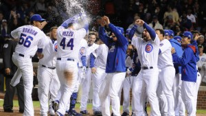 CHICAGO, IL - SEPTEMBER 15:  Anthony Rizzo #44 of the Chicago Cubs celebrates his walk-off home run in the ninth inning against the Cincinnati Reds on September 15, 2014 at Wrigley Field in Chicago, Illinois. The Chicago Cubs defeated the Cincinnati Reds 1-0. (Photo by David Banks/Getty Images)