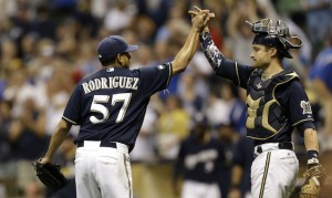 MILWAUKEE, WI - SEPTEMBER 27: Francisco Rodriguez #57 of the Milwaukee Brewers celebrates with Jonathan Lucroy #20 after the 2-1 win over the Chicago Cubs at Miller Park on September 27, 2014 in Milwaukee, Wisconsin. (Photo by Mike McGinnis/Getty Images)  *** Local Caption *** Francisco Rodriguez; Jonathan Lucroy