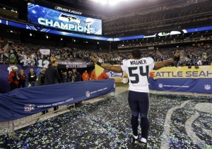 Seattle Seahawks' Bobby Wagner (54) celebrates after the NFL Super Bowl XLVIII football game against the Denver Broncos, Sunday, Feb. 2, 2014, in East Rutherford, N.J. The Seahawks won 43-8. (AP Photo/Jeff Roberson)