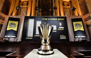 Sep 11, 2014; Chicago, IL, USA; A general view of the Sprint Cup trophy on display during media day for the 2014 Chase for the NASCAR Sprint Cup at The Murphy Chicago. Mandatory Credit: Jasen Vinlove-USA TODAY Sports