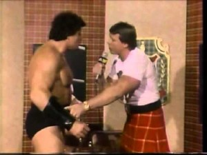 """Piper questions """"Iron Mike"""" Sharpe about his forearm brace on Piper's Pit."""