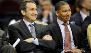 Mar 3, 2015; Cleveland, OH, USA; Cleveland Cavaliers head coach David Blatt (left) and assistant Tyronn Lue sit on the bench in the fourth quarter against the Boston Celtics at Quicken Loans Arena. Mandatory Credit: David Richard-USA TODAY Sports