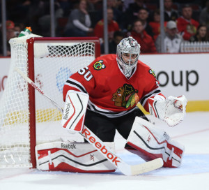 Chicago Blackhawks goalie Corey Crawford (50) in the second period of an exhibition game Tuesday, Sept. 23, 2014 at the United Center. (Brian Cassella/Chicago Tribune)