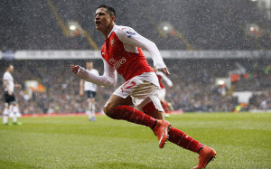 """Football Soccer - Tottenham Hotspur v Arsenal - Barclays Premier League - White Hart Lane - 5/3/16 Alexis Sanchez celebrates after scoring the second goal for Arsenal Action Images via Reuters / Paul Childs Livepic EDITORIAL USE ONLY. No use with unauthorized audio, video, data, fixture lists, club/league logos or """"live"""" services. Online in-match use limited to 45 images, no video emulation. No use in betting, games or single club/league/player publications. Please contact your account representative for further details."""