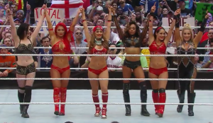 From left to right: Paige, Eva Marie, Nikki Bella, Alicia Fox, Brie Bella, and Natalya