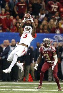 Houston Cougars cornerback William Jackson III (3) intercepts the ball intended for Florida State Seminoles wide receiver Jesus Wilson (3) Photo by; Jason Getz-USA TODAY Sports