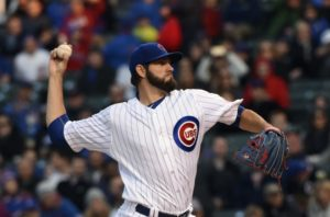 Apr 14, 2016; Chicago, IL, USA; Chicago Cubs starting pitcher Jason Hammel (39) delivers in he first inning against the Cincinnati Reds at Wrigley Field. Mandatory Credit: Matt Marton-USA TODAY Sports