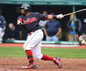 Tim Phillis - TCP Photography Rajai Davis hits a home run during the Indians' 10-7 loss to the Mariners on April 21 at Progressive Field.