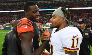 Oct 30, 2016; London, United Kingdom; Cincinnati Bengals wide receiver A.J. Green (18) shakes hands with Washington Redskins wide receiver DeSean Jackson (11) after game 17 of the NFL International Series at Wembley Stadium. The Redskins and Bengals tied 27-27. Mandatory Credit: Kirby Lee-USA TODAY Sports ORG XMIT: USATSI-268440 ORIG FILE ID:  20161030_gma_al2_144.jpg